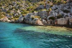Versunkene Stadt von Kekova-Insel in der Türkei Anblick von Antalya-Provinz Lizenzfreies Stockbild