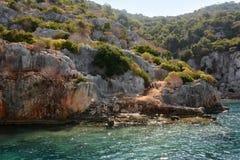 Versunkene Stadt von Kekova-Insel in der Türkei Anblick von Antalya-Provinz Stockbilder