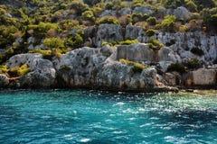 Versunkene Stadt von Kekova-Insel in der Türkei Anblick von Antalya-Provinz Stockfotografie