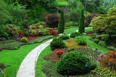 Versunkener Garten in den butchart Gärten Stockbild