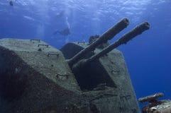 Versunkenes Kriegsschiff Stockfotos