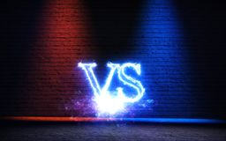 Versus background with blue and red glow rays 3D illustration. Versus background with blue and red glow rays stock illustration