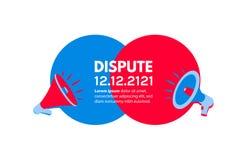 VERSUS banner met megafoons Debat of propaganda stiker Bedrijfsconcept voor bevordering en reclame Vectorillustratie met vector illustratie