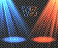 Versus battle futuristic screen with blue and red glow rays vector illustration. VS battle game, match boxing and fight duel royalty free illustration
