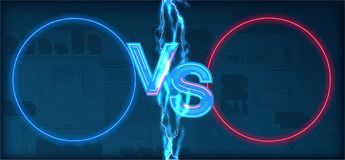 Versus battle. Business confrontation screen with neon frames and vs logo illustration. Versus with electric lightning - vector illustration royalty free illustration
