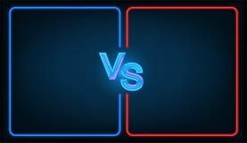 Versus battle. Business confrontation screen with neon frames and vs logo illustration. Versus - vector illustration vector illustration
