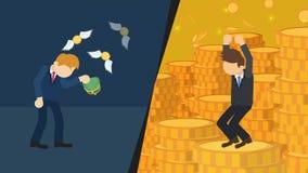 versus biedny bogactwo Ogólnospołeczna i ekonomiczna nierówność i bogactwo przerwa na całym świecie biznesmen nierówności pojęcie royalty ilustracja