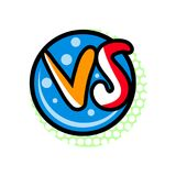 Versus comic battle sign in cartoon style. Fight opposition symbol, VS bright colorful element vector illustration Stock Photography
