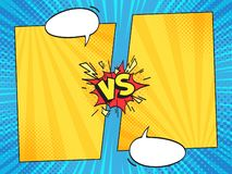 Versus comic frame. Vs comics book frames with cartoon text speech bubbles on halftone stripes background vector