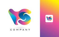 VERSUS de Mooie Kleuren van Logo Letter With Rainbow Vibrant Kleurrijk t Royalty-vrije Stock Foto