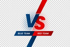 Versus duel headline. Battle red vs blue team frame, game match competition and teams confrontation isolated vector. Versus duel headline. Battle red vs blue stock illustration