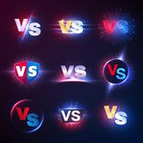 Versus emblems. Vs mma competition, battle confrontation lucha libre contest versus vector symbols royalty free illustration