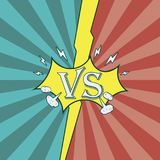 Versus. Fighting background of comic style. Sunburst texture. Versus. Fighting background of comic style. Sunburst texture for intro of heroes battle. Vector Stock Image