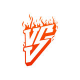 Versus with fire frames and vs letters. Flaming VS for duel and confrontation. Flat illustration isolated on white. Versus screen with fire frames and vs letters Stock Photos