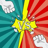 Versus with fist. Fighting background of comic style. Intro page of heroes battle. Vector. Versus with fist. Fighting background of comic style. Intro page of Royalty Free Stock Images