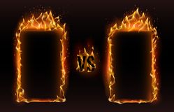 Versus frames. Fire vs frame, screen for boxing versus sports fight match challenge vector illustration. Versus frames. Fire vs frame, screen for boxing versus stock illustration