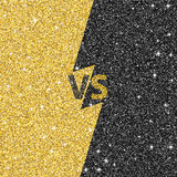Versus glitter letters. Black and gold VS text. Vector illustration Royalty Free Stock Photography