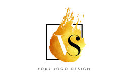 VERSUS Gouden Brief Logo Painted Brush Texture Strokes Stock Afbeelding