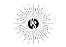 Versus icon. VS letters is into round circle shape. Black symbol with rays from center isolated on white background. Vector illustration Royalty Free Stock Photography