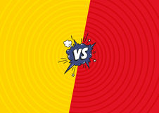 Versus letters fight background. Decorative comic backdrop with speech bubble bomb explosive in pop art style. Royalty Free Stock Images