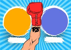 Versus letters fight backgrounds comics style design. Hand in a boxing glove  Vector illustration. Versus letters fight backgrounds comics book style design Stock Images