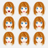 Versus letters fight backgrounds comics style design. Set of beauty woman avatar expressions face emotions vector illustration Royalty Free Stock Photo