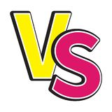 Versus letters icon or VS battle fight competition sign symbol. Cute cartoon style. Text template. Pink yellow color. White backgr. Ound. Isolated. Flat design Stock Photography