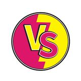 Versus letters round circle icon or VS battle fight competition sign symbol. Cute cartoon style. Text template. Pink yellow color. White background. Isolated Stock Photography