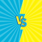 Versus letters or VS battle fight competition. Cute cartoon style. Blue yellow background template. Sunburst with ray of light. St. Arburst effect. Flat design Stock Photography