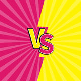 Versus letters or VS battle fight competition. Cute cartoon style. Pink yellow background template. Sunburst with ray of light. St. Arburst effect. Flat design Royalty Free Stock Image