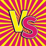 Versus letters or VS battle fight competition. Cute cartoon style. Sunburst with ray of light. Starburst effect. Pink yellow backg. Round template. Flat design Stock Image
