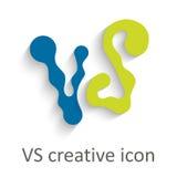 Versus letters or vs logo vector emblem on explosion shape Stock Photos