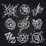 Versus logos on blackboard background Stock Photography