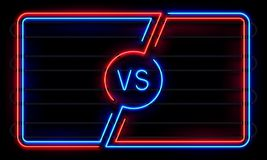 Versus neon frame. Sport battle glowing lines banner, VS duel sign. Sports fight team frames vector background royalty free illustration