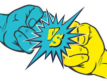 Versus rivalry fist sign. Versus rivalry fist vector illustration. Male hands battle isolated on white background royalty free illustration