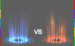 Versus round blue and red glow rays night scene with sparks on transparent background. Transparency in additional format only. Light effect podium. Disco club Stock Photos