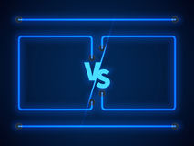 Versus screen with blue neon frames and vs letters. Stock vector Stock Image