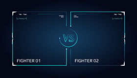 Versus screen design. Announcement of a two fighters. Blue futuristic neon VS letters. Stock Images