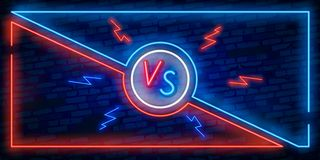 Versus screen design in neon style. Neon banner Announcement of two fighters. Blue futuristic neon VS leaves. Competition vs match. Game, martial battle vs vector illustration