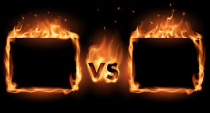 Versus screen with fire frames. In vector Royalty Free Stock Photo