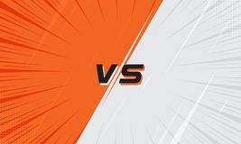 Versus Screen Orange and White With Halftone and Comic Zoom Line. Versus Screen Pink and Light Blue With Halftone and Comic Zoom Line. Vs Fight background for royalty free illustration