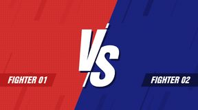 Versus screen. Vs battle headline, conflict duel between Red and Blue teams. Confrontation fight competition. Vector. Background template royalty free illustration