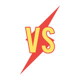 Versus sign on flash shape. VS icon. Vector illustration on flat style isolated on white background Royalty Free Stock Photo