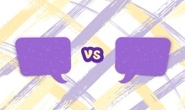 Versus template. VS screen. Vector illustration. Versus template. VS screen with empty space speech bubbles and colorful cover. Battle background. Vector royalty free illustration