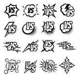 Versus vector logo set. Argue fight symbols in cartoon comic style Royalty Free Stock Photo