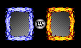Versus Vector Symbol With Fire Frames. VS Letters. Flame Fight Background Design. Competition Concept. Fight. Versus Vector Symbol With Fire Frames. VS Letters Stock Photo