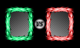 Versus Vector Symbol With Fire Frames. VS Letters. Flame Fight Background Design. Competition Concept. Fight. Versus Vector Symbol With Fire Frames. VS Letters Stock Images