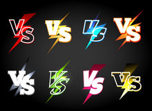 Versus or vs confrontation labels. Slag battle vector icons in 80s light eclair style Royalty Free Stock Photography