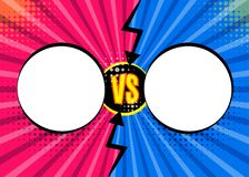 Versus VS letters fight backgrounds in flat comics style desig. N with halftone, lightning, round circle frames. Vector illustration Stock Photography