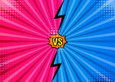 Versus VS letters fight backgrounds in flat comics style desig. N with halftone, lightning, round circle frames. Vector illustration Royalty Free Stock Photos